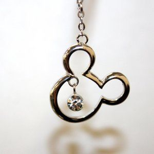 Silver Mickey Mouse Silhouette Pendant